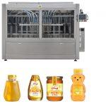 Automatikus szervodugattyús típusú mártás, mézes lekvár, nagy viszkozitású folyadékot töltő kupakkal ellátott címkézőgép sor